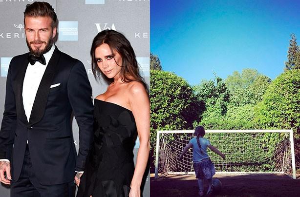 Harper Beckham playing football