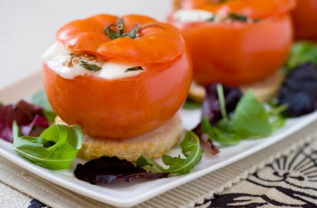 Gino D'Acampo's goat's walnut and goat cheese stuffed roasted tomatoes