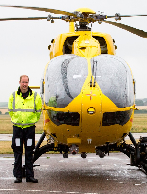 Prince William goes back to work as an air ambulance pilot, July 2015