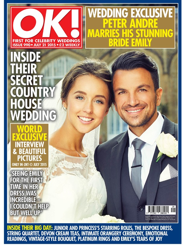 Peter Andre and Emily MacDonagh's OK! wedding cover