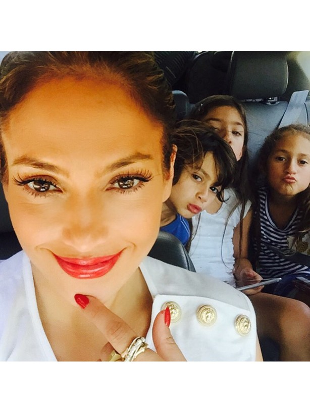 Jennifer Lopez with twins Max and Emme