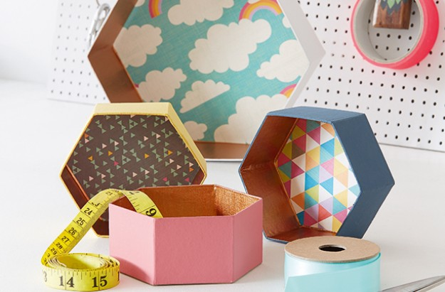 Homemade pretty storage boxes