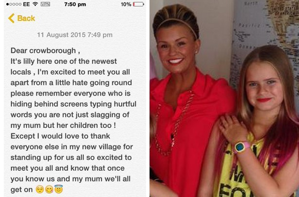 Kerry Katona's daughter Lilly McFadden writes open letter to new neighbours