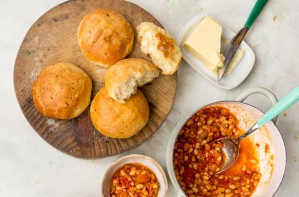 Cheddar brioche rolls and chipotle-baked beans
