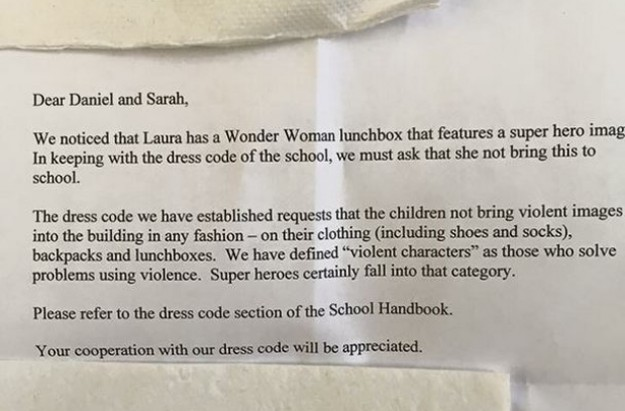 Lunchbox letter to parents from school about Wonder Woman lunchbox