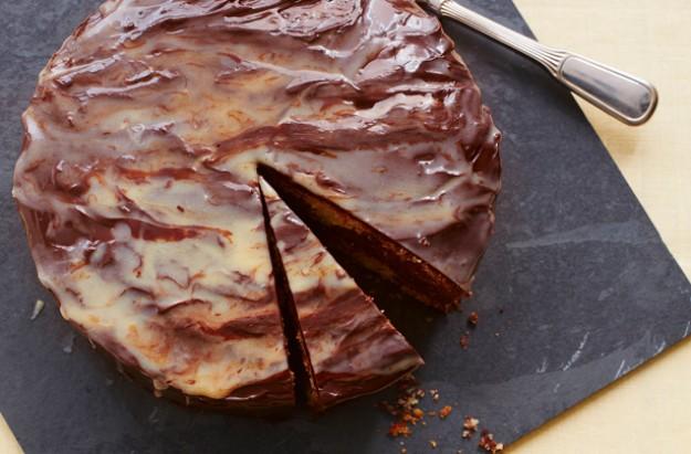 Double chocolate swirled cake