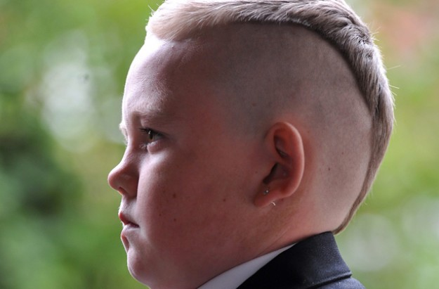 Garry Hill who was sent home from school for his 'severe' haircut