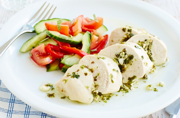 Greek-style chicken and salad