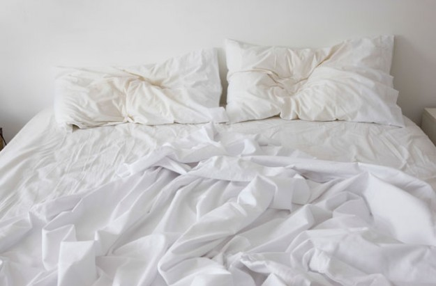 Unmade bed, sleep