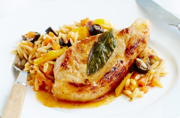 Sage pork chops with veggie pasta
