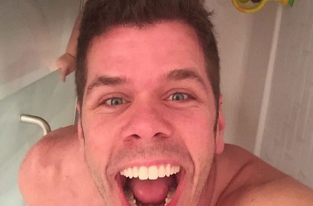 Perez Hilton and his son Mario in the shower