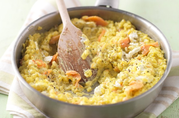 Goat's cheese saffron risotto with smoked salmon