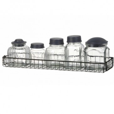 Wire Spice Rack with Herb Jars