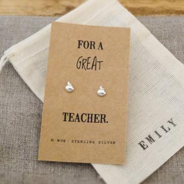 Great Teacher Apple Earrings