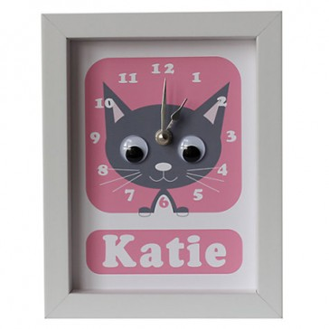 Stripey Cats Personalised Kirsty Kitten Framed Clock