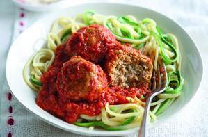 Turkey and courgette pasta in tomato sauce