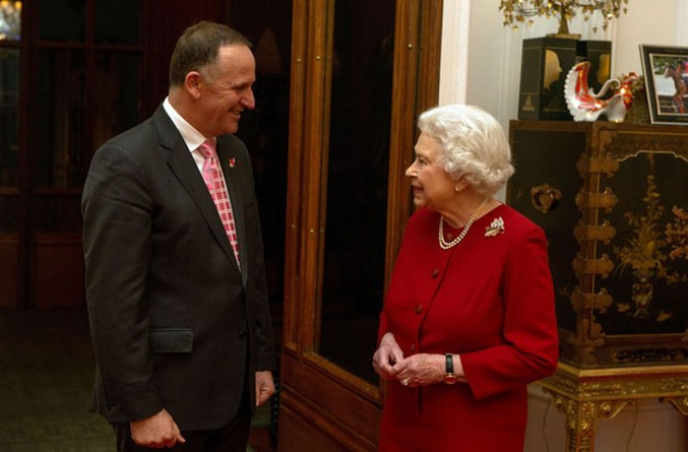 Queen Elizabeth and New Zealand Prime Minister John Key