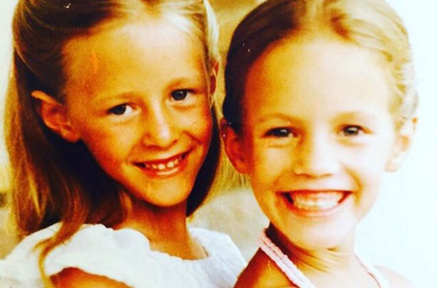 Young Caroline Flack and sister