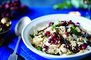 Coconut rice pilaf with baby aubergines