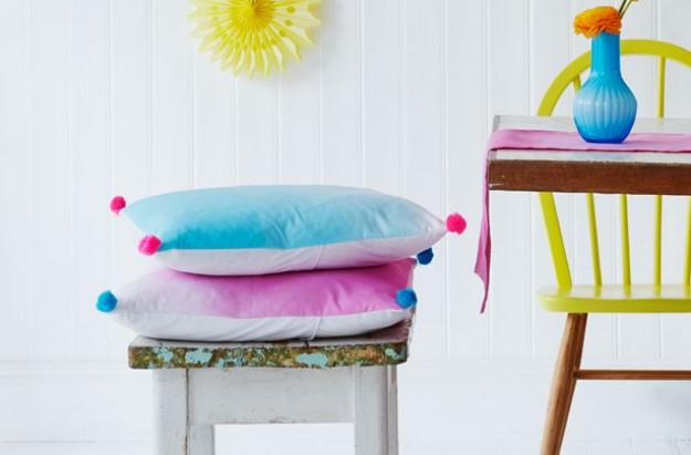 Homemade dip dye cushions