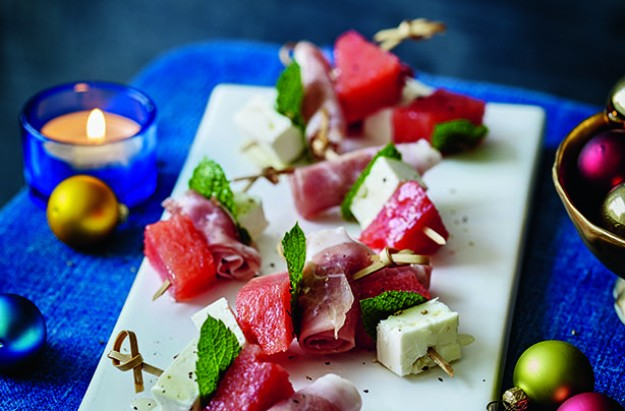 Watermelon, cured ham and feta