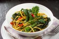 Purple sprouting broccoli stir-fry