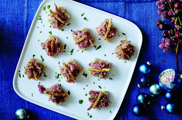 Crackling, ham hock and apple toasts