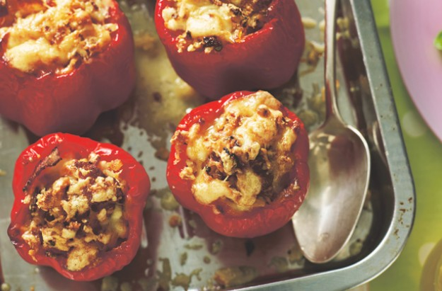 Bacon and egg stuffed peppers