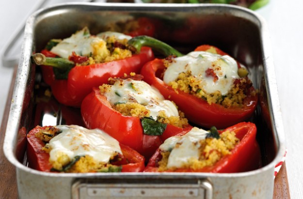 Stuffed peppers with couscous, courgette and mozzarella