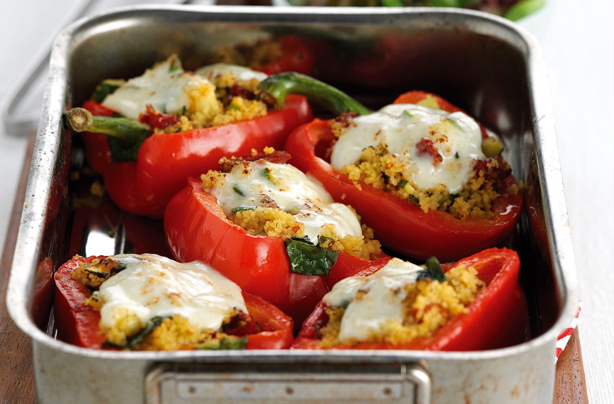 Stuffed peppers with couscous, courgette and mozzarella ...