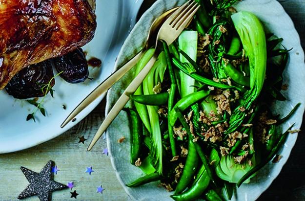 Sesame and garlic greens