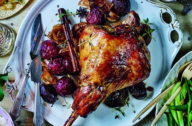 Sticky plum roast lamb