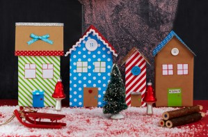 Cardboard box town Christmas craft
