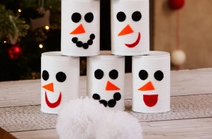Bowling pin snowmen Christmas craft