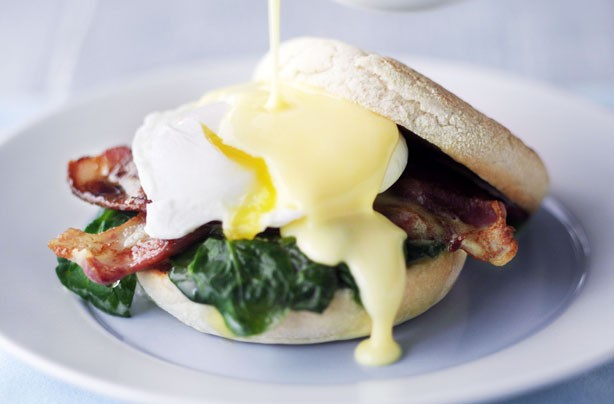 Classic eggs Benedict with wilted spinach