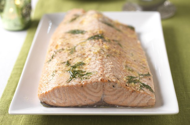 Roasted salmon with horseradish hollandiase