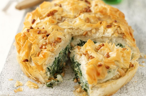 Spinach, feta and filo pie
