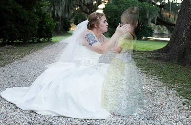 mother with late daughter on her wedding day