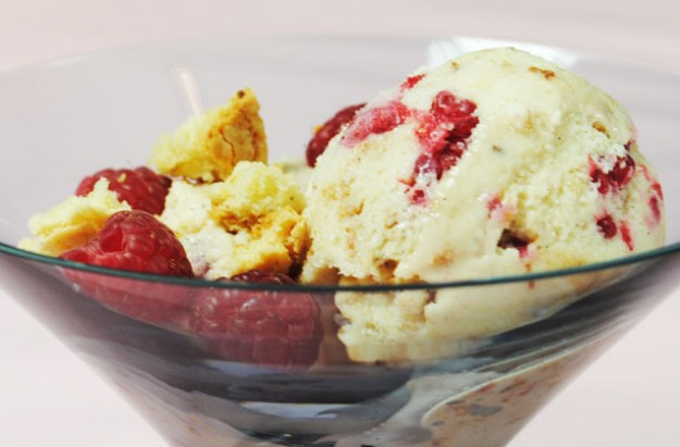 Gizzi Erskine's vanilla and raspberry ice cream