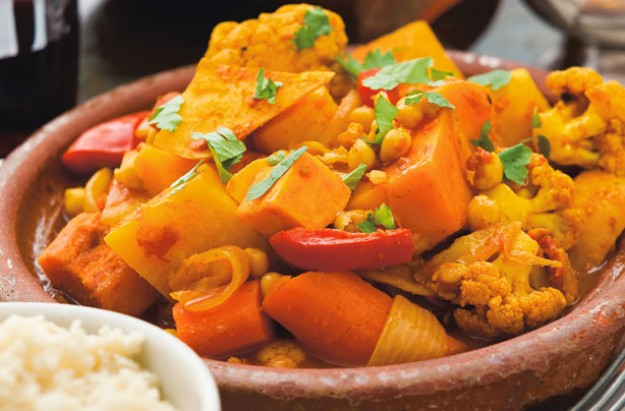 Spiced butternut squash and veg tagine