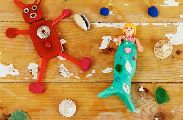 playdough mermaid and robot kids' craft
