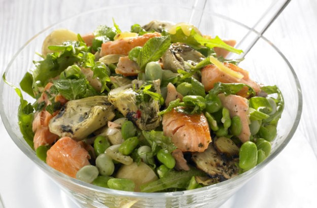 Salmon and broad bean salad