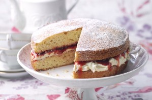 Classic Victoria sponge with white choc buttercream