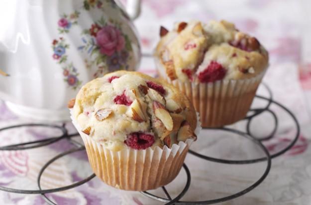 Mini raspberry and almond muffins