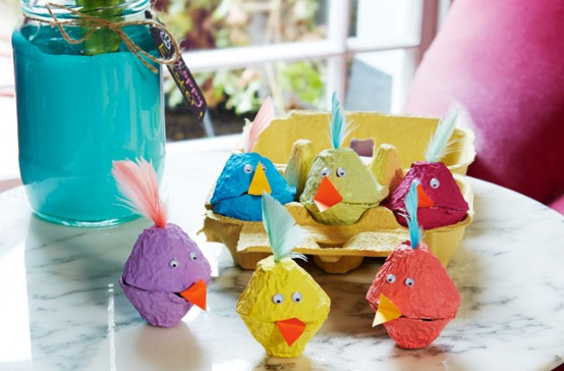 Easter craft egg box chickens