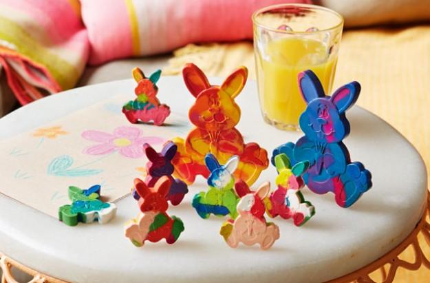 Easter craft crazy rabbit crayons