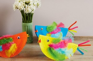 Easter craft paper plate chickens