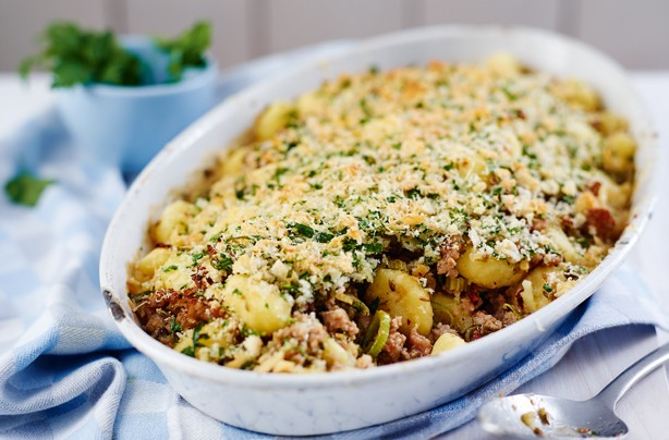 Baked sausage and gnocchi gratin