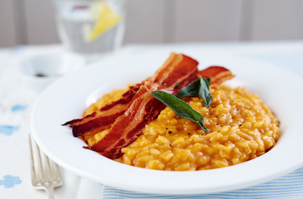 Butternut squash risotto with crispy sage and pancetta recipe ...