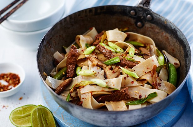 Tangy beef and mushroom noodles